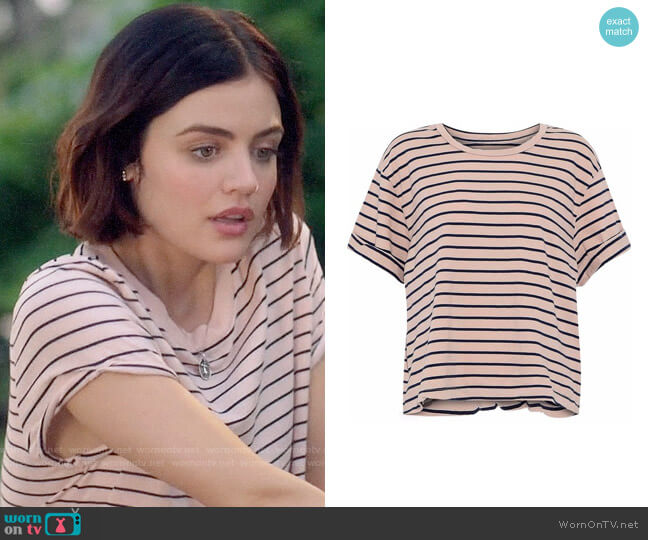 Current Elliott The Sailor Striped Tee worn by Lucy Hale on Life Sentence