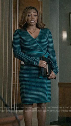 Daisy's teal green checked wrap dress on Madam Secretary