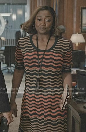 Daisy's wave striped dress on Madam Secretary