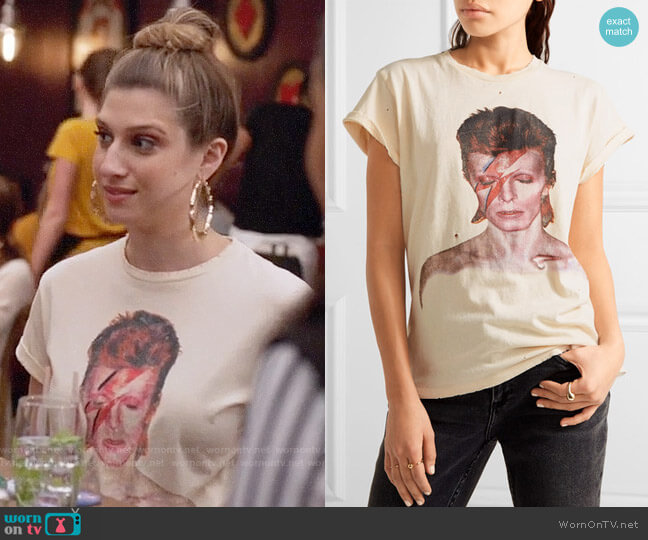 Madeworn David Bowie Ziggy T-shirt worn by Emily Arlook on Grown-ish