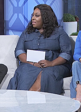 Loni's denim button front dress on The Real