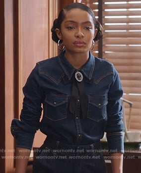 Zoey's denim top with ribbon brooch on Grown-ish