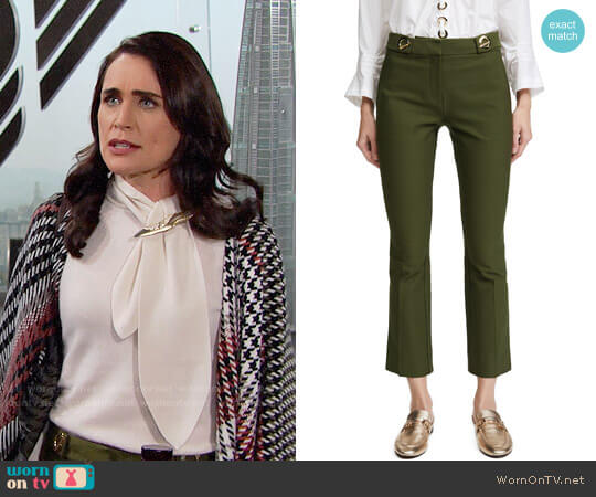Derek Lam 10 Crosby Flared Crepe Trousers with Grommet Details worn by Rena Sofer on The Bold & the Beautiful