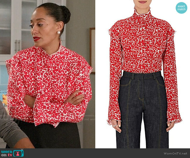 Derek Lam Floral Silk Georgette Ruffle Blouse worn by Tracee Ellis Ross on Blackish