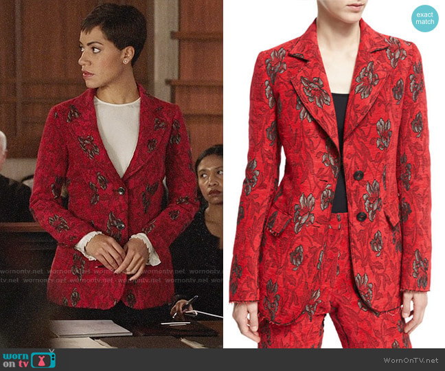 Derek Lam Velvet Floral Jacquard Blazer worn by Cush Jumbo on The Good Fight