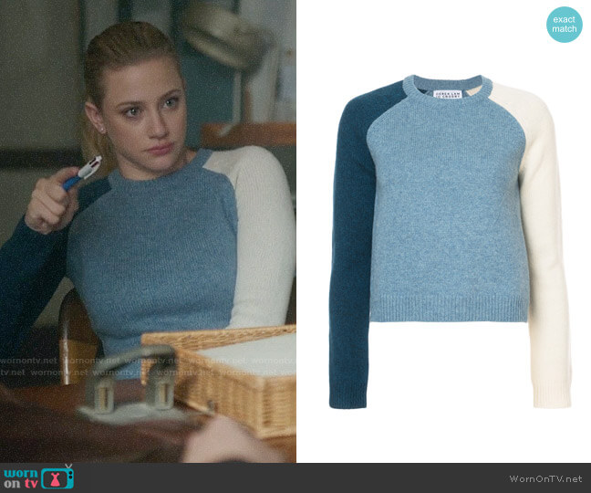 Derek Lam 10 Crosby Colorblocked Sleeve Sweater worn by Lili Reinhart on Riverdale