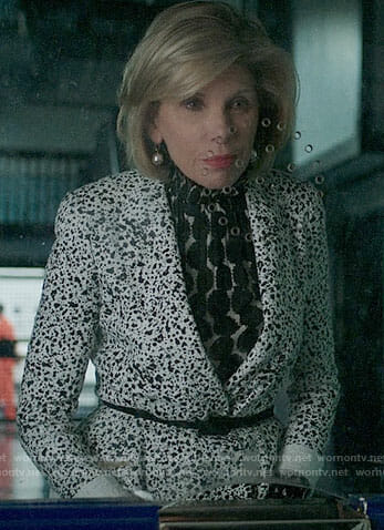 Diane's polka dot blouse and printed peplum jacket on The Good Fight