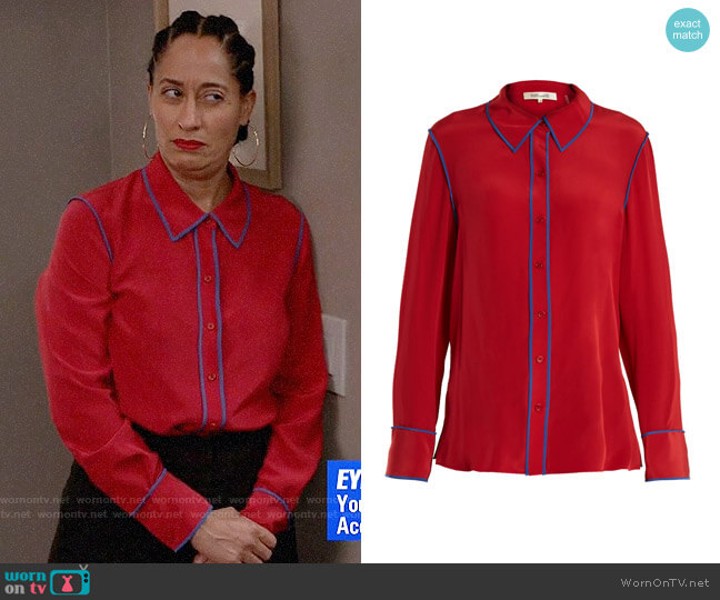 Diane von Furstenberg Point-collar silk-crepe shirt worn by Rainbow Johnson (Tracee Ellis Ross) on Blackish