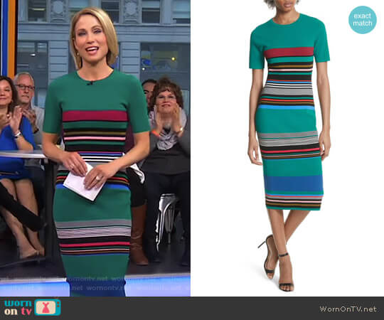 Stripe Short Sleeve Sweater Dress by Diane von Furstenberg worn by Amy Robach on Good Morning America