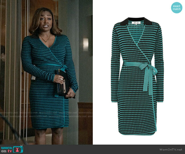 Diane von Furstenberg Checked Wrap Dress worn by Patina Miller on Madam Secretary