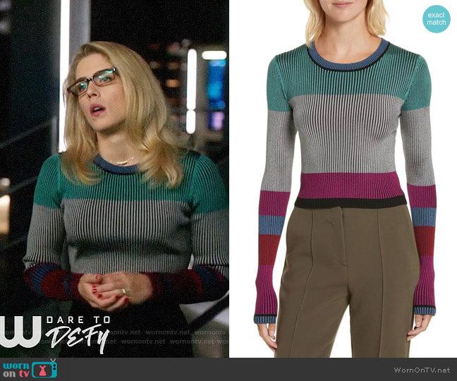 Diane von Furstenberg Cropped Plaited Pullover worn by Emily Bett Rickards on Arrow