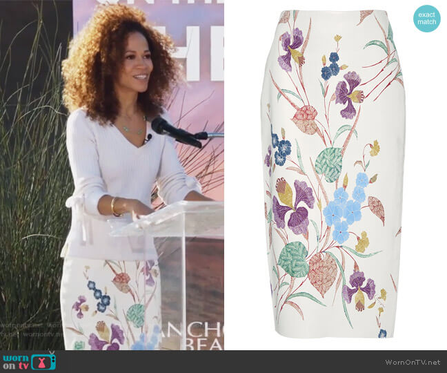 Floral Printed Leather Pencil Skirt by Diane von Furstenberg worn by Sherri Saum on The Fosters