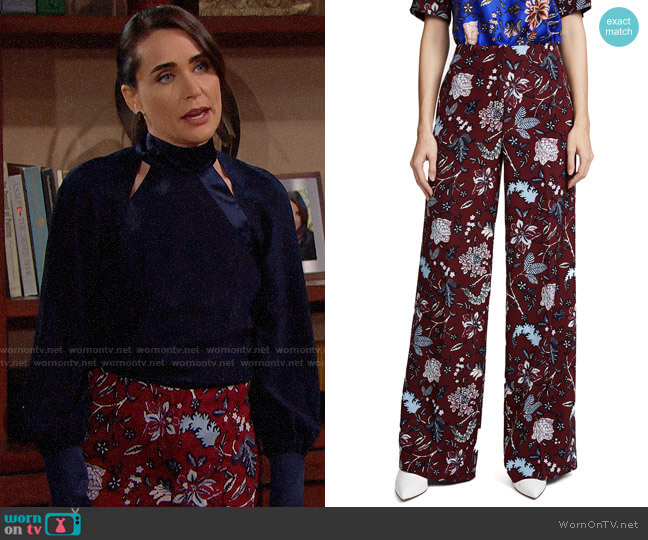 Diane von Furstenberg Canton Bordeaux Wide Leg Pants worn by Quinn Fuller (Rena Sofer) on The Bold & the Beautiful