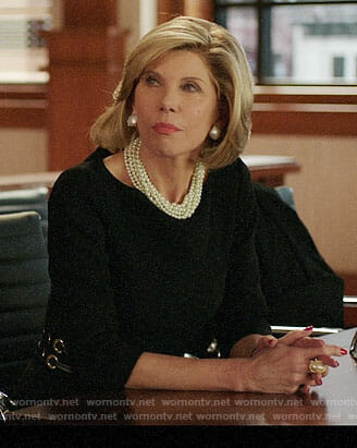 Diane's black dress with grommet waist on The Good Fight