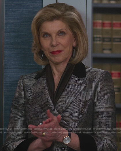 Diane's metallic jacket with black collar on The Good Fight