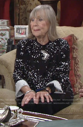 Dina's black and white printed cardigan on The Young and the Restless