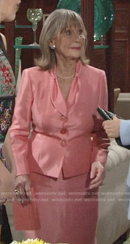 Dina's coral skirt suit on The Young and the Restless
