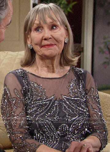 Dina's grey embellished overlay dress on The Young and the Restless