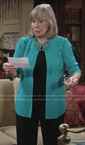 Dina's turquoise cardigan on The Young and the Restless