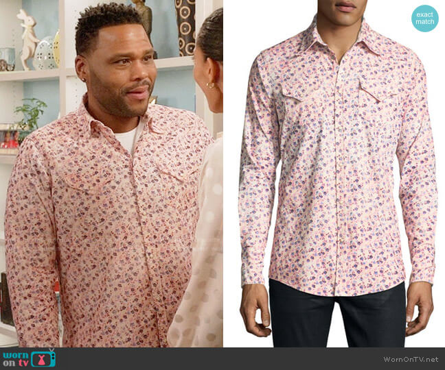 DSquared2 Floral-Print Western Shirt worn by Andre Johnson (Anthony Anderson) on Blackish