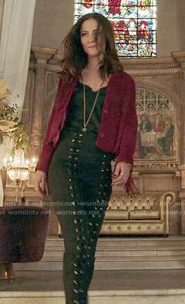Princess Eleanor's red fringed jacket and lace-up front pants on The Royals