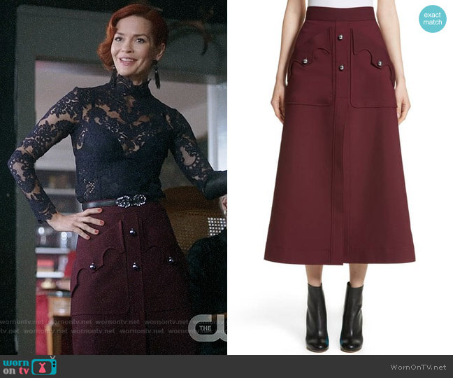 Ellery Professor Skirt worn by Penelope Blossom (Nathalie Boltt) on Riverdale