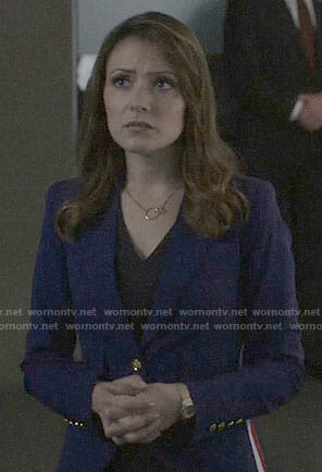 Emily's blue blazer with side stripes on Designated Survivor