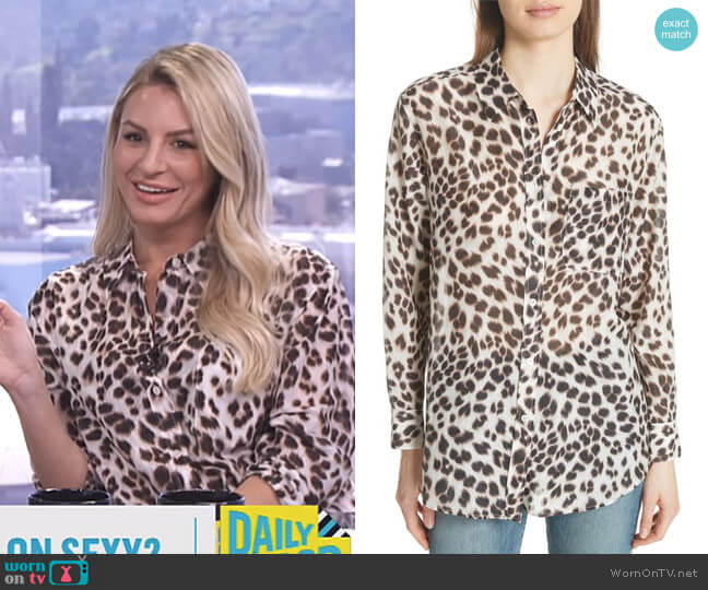 Daddy Leopard Print Blouse by Equipment worn by Morgan Stewart  on E! News