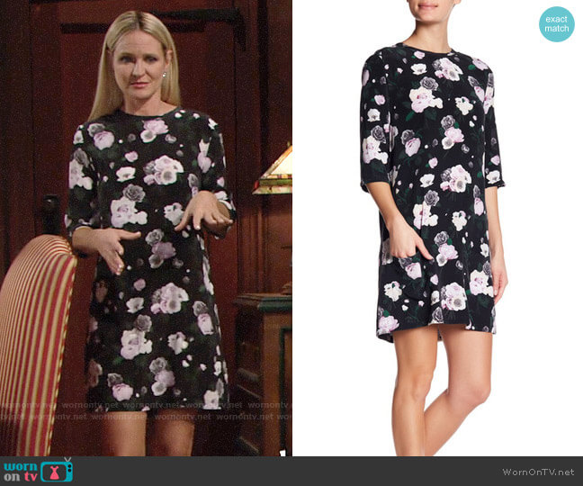 Equipment Aubrey Floral Silk Dress worn by Sharon Case on The Young & the Restless
