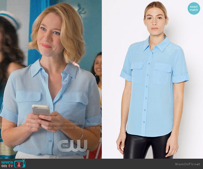 Equipment Short Sleeve Slim Signature Shirt worn by Petra Solano (Yael Grobglas) on Jane the Virgin