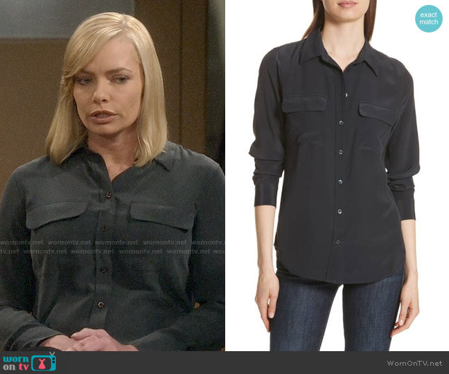 Equipment Slim Signature Silk Shirt worn by Jill Kendall (Jaime Pressly) on Mom