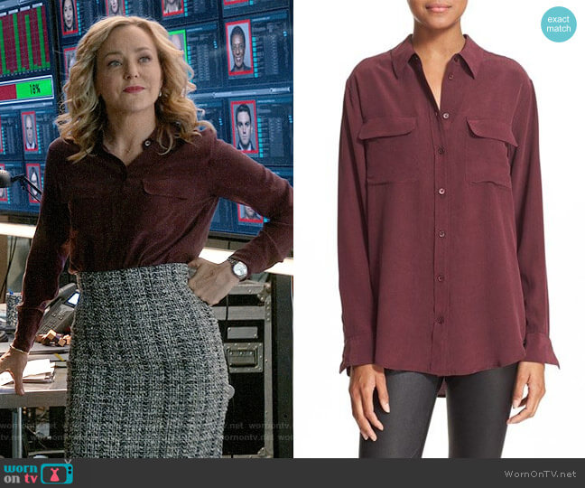 Equipment Slim Signature Silk Shirt worn by Geneva Carr on Bull