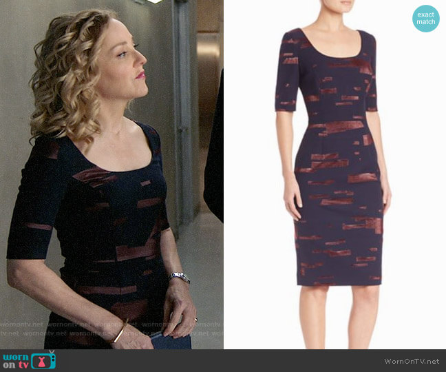Escada Printed Fil Copupe Sheath Dress worn by Geneva Carr on Bull