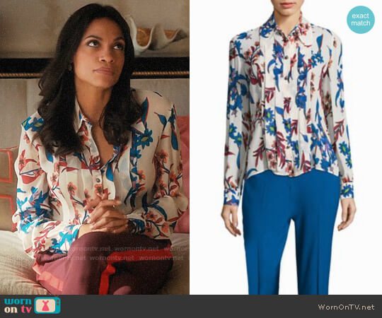 Etro Pleated Floral Silk Blouse worn by Jane Ramos (Rosario Dawson) on Jane the Virgin