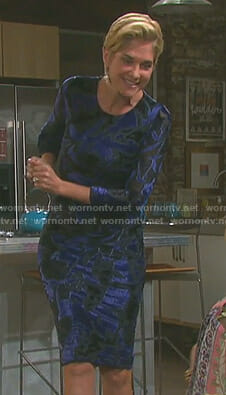 Eve's blue velvet burnout dress on Days of our Lives