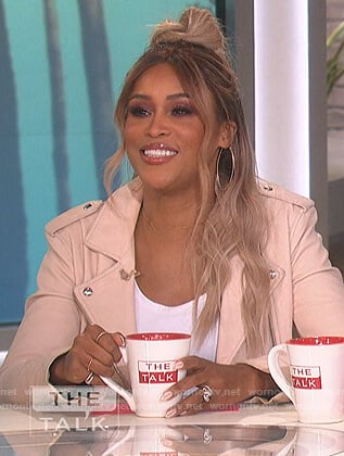 Eve's pink leather moto jacket on The Talk
