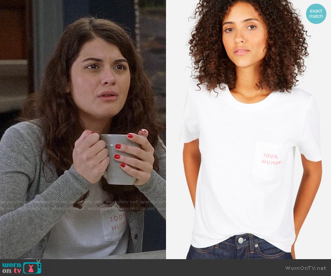 Everlane 100% Human Small Print Tee worn by Sabrina Pemberton (Sofia Black D'Elia) on The Mick