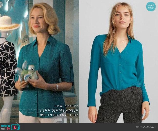 Express Slim Fit Convertible Sleeve Portofino Shirt worn by Yael Grobglas on Jane the Virgin