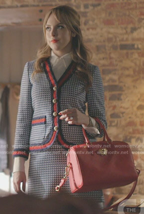 Fallon's blue tweed jacket and skirt on Dynasty