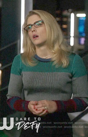 Felicity's colorblock sweater on Arrow