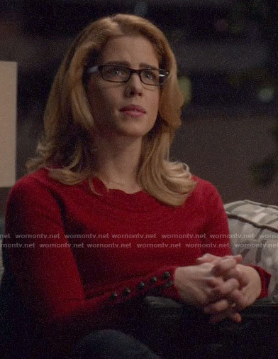 Felicity's red button cuff sweater on Arrow
