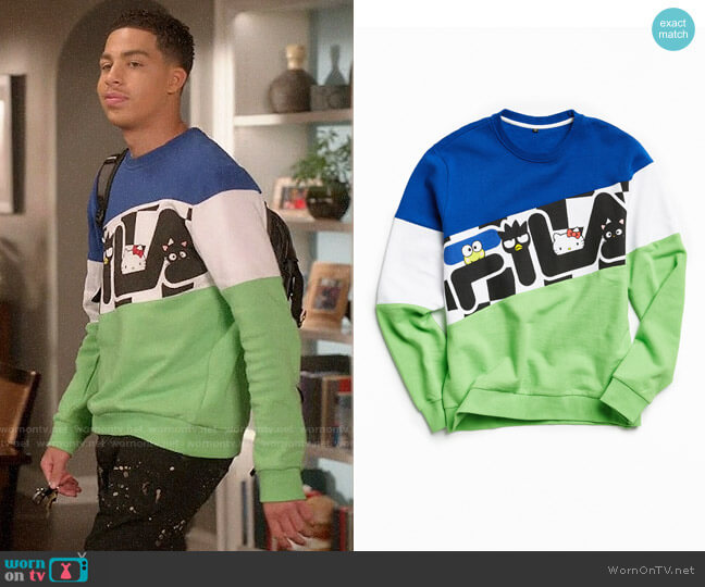 Urban Outfitters Fila x Sanrio Sweatshirt worn by Andre Johnson Jr (Marcus Scribner) on Blackish
