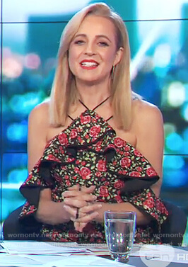 Carrie's rose print cold shoulder top on The Project