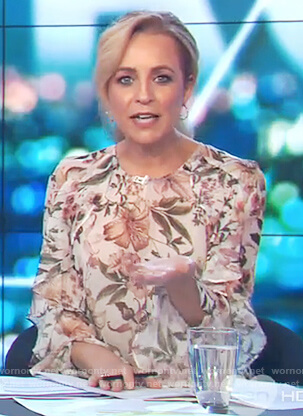 Carrie's floral print ruffle sleeve blouse on The Project