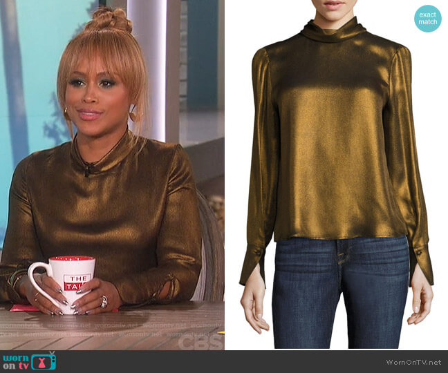 Concealed Lurex Blouse by Frame worn by Eve on The Talk