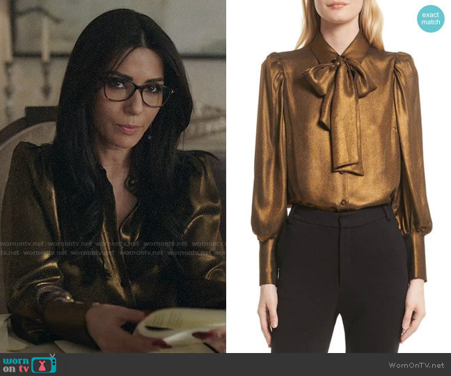 Frame Voluminous Scarf Blouse worn by Hermione Lodge (Marisol Nichols) on Riverdale