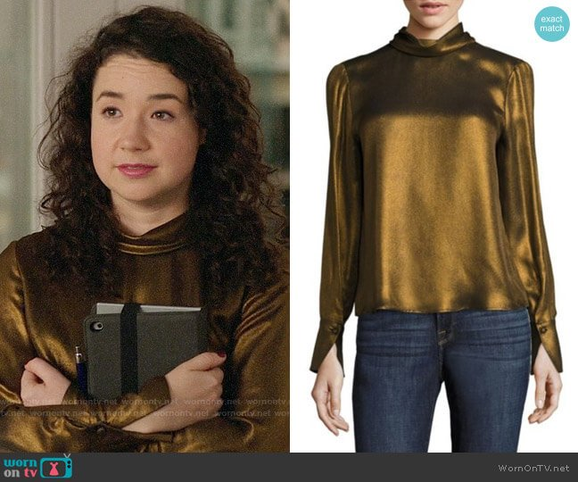 Frame Concealed Lurex Blouse worn by Sarah Steele on The Good Fight