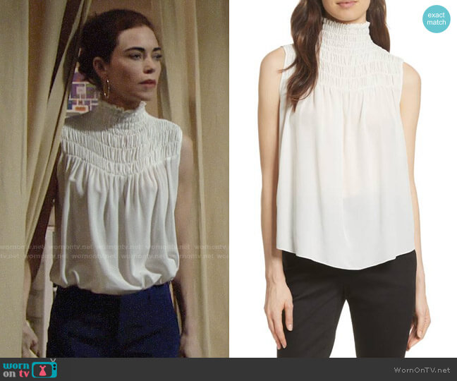 5ad1c10ad5089 Frame Smocked Sleeveless Silk Blouse worn by Victoria Newman (Amelia  Heinle) on The Young
