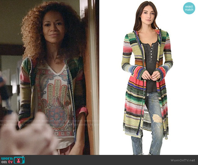 Free People Serape Cardigan worn by Lena Adams Foster (Sherri Saum) on The Fosters