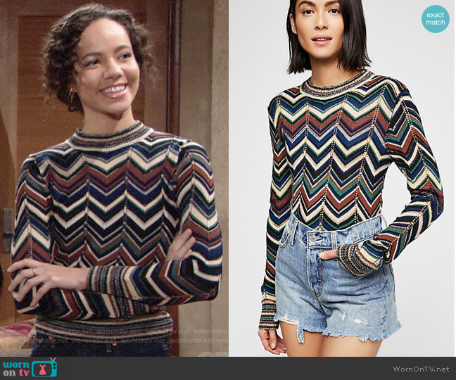 Free People Talk About It Sweater worn by Lexie Stevenson on The Young & the Restless